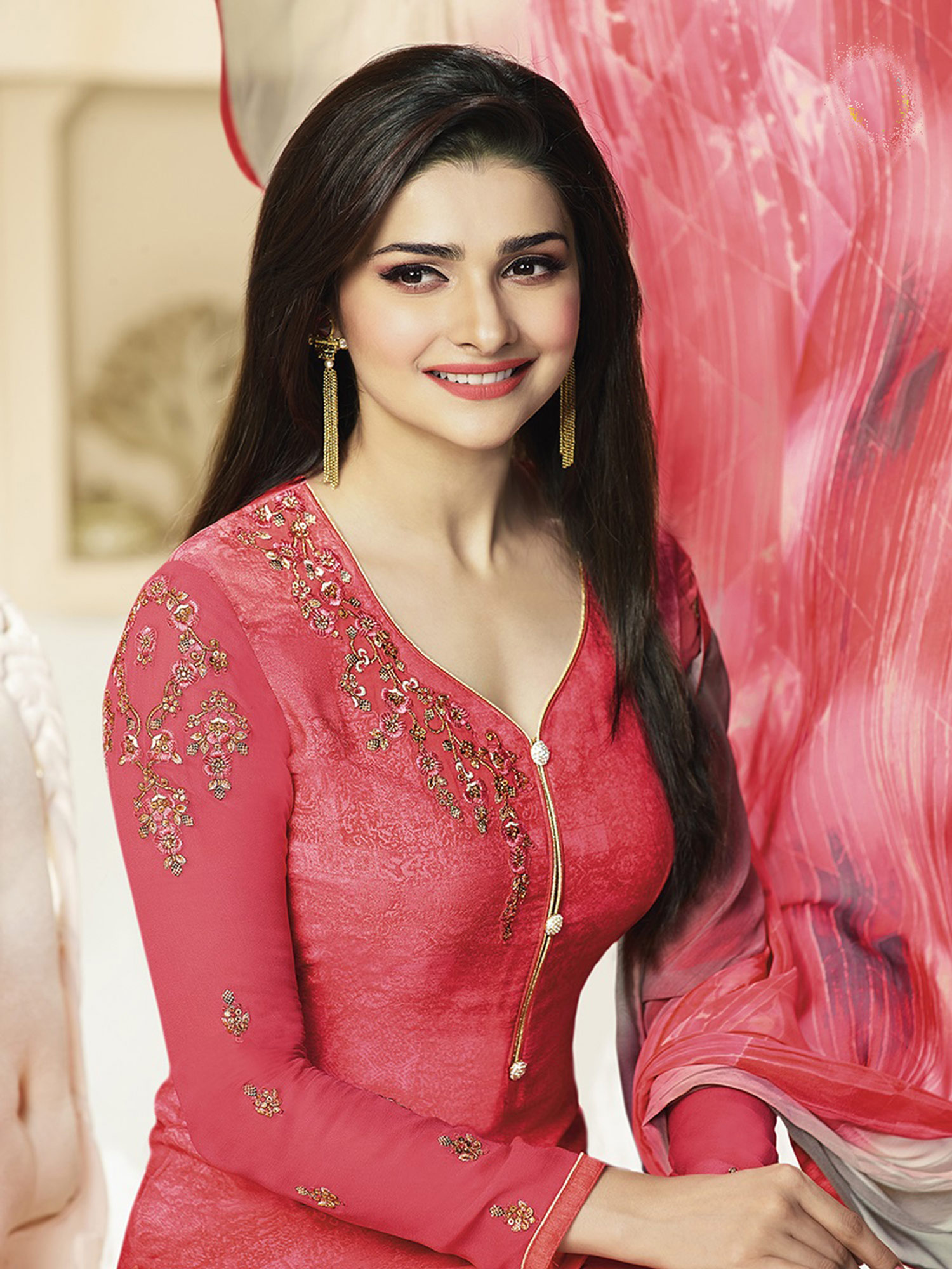 Lovely Pink Designer Embroidered Silk Salwar Suit
