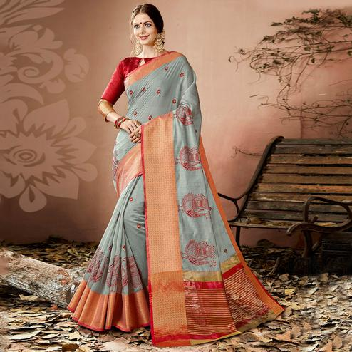 Trendy Gray Colored Partywear Embroidered Cotton Silk Saree