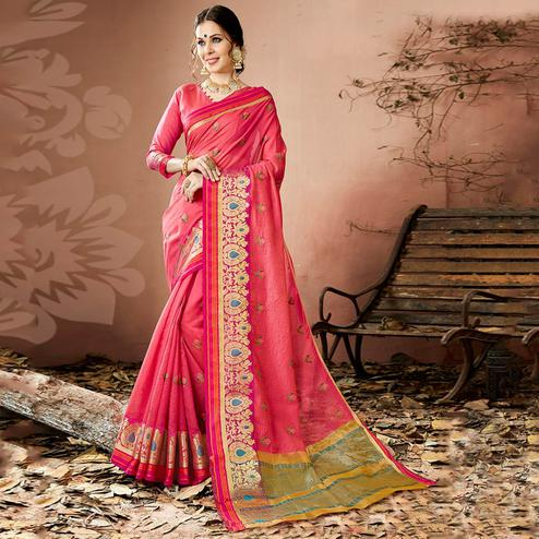 Perfect Pink Colored Partywear Embroidered Cotton Silk Saree