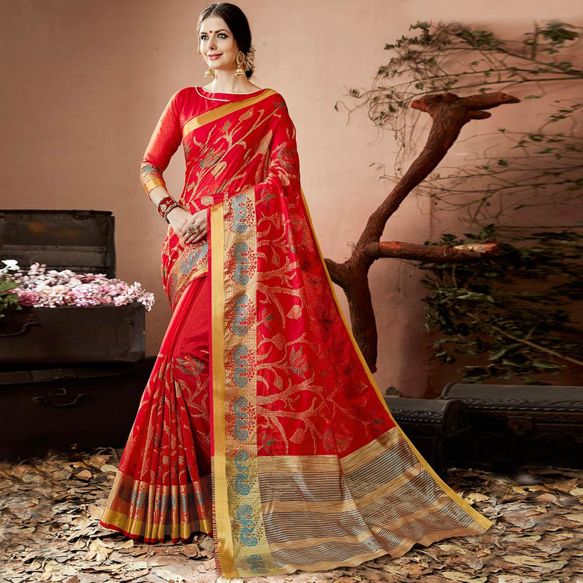 Glowing Red Colored Partywear Embroidered Cotton Silk Saree