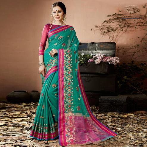 Different Rama Green Colored Partywear Embroidered Cotton Silk Saree