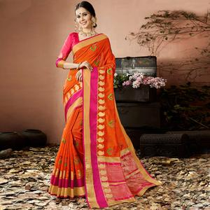 Traditional Orange Colored Partywear Embroidered Cotton Silk Saree