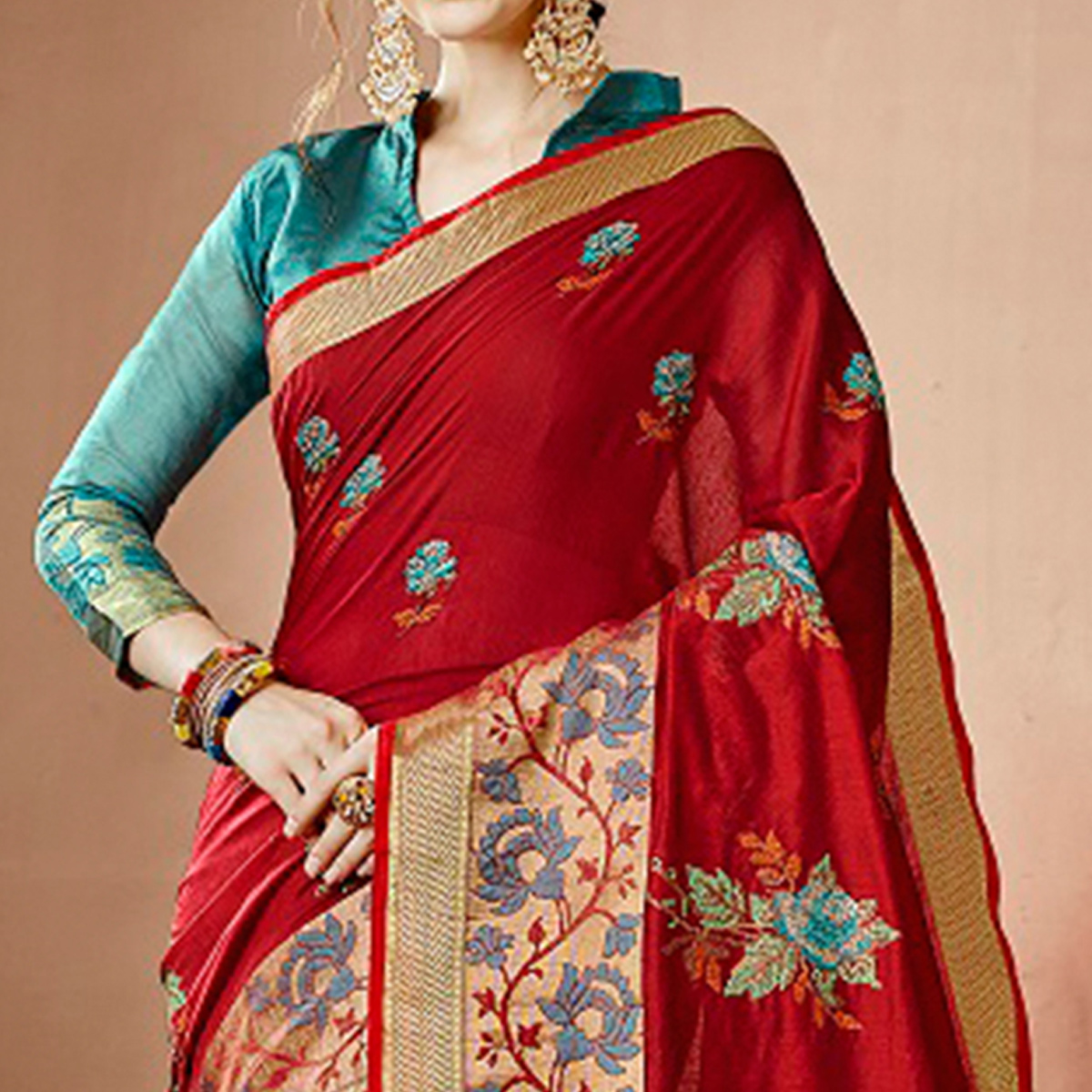 Classy Red Colored Partywear Embroidered Cotton Silk Saree
