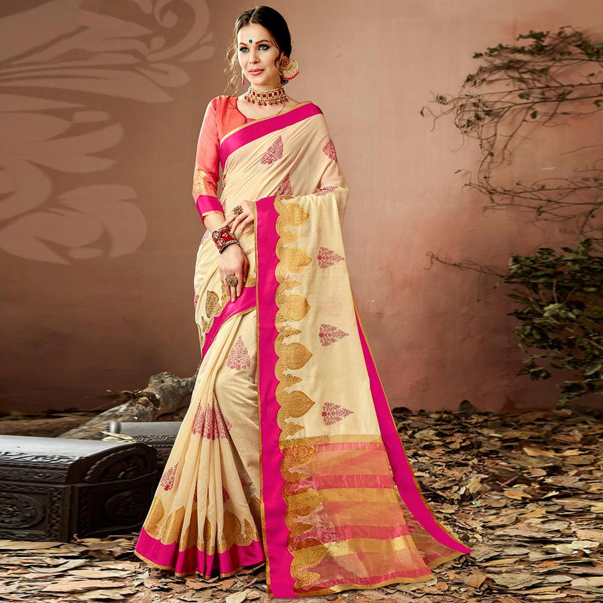 Amazing Cream Colored Partywear Embroidered Cotton Silk Saree