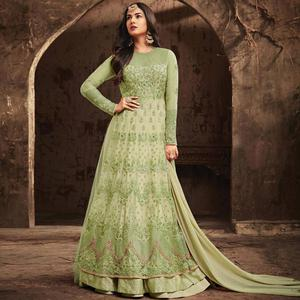 Gleaming Light Green Colored Partywear Embroidered Netted Anarkali Suit
