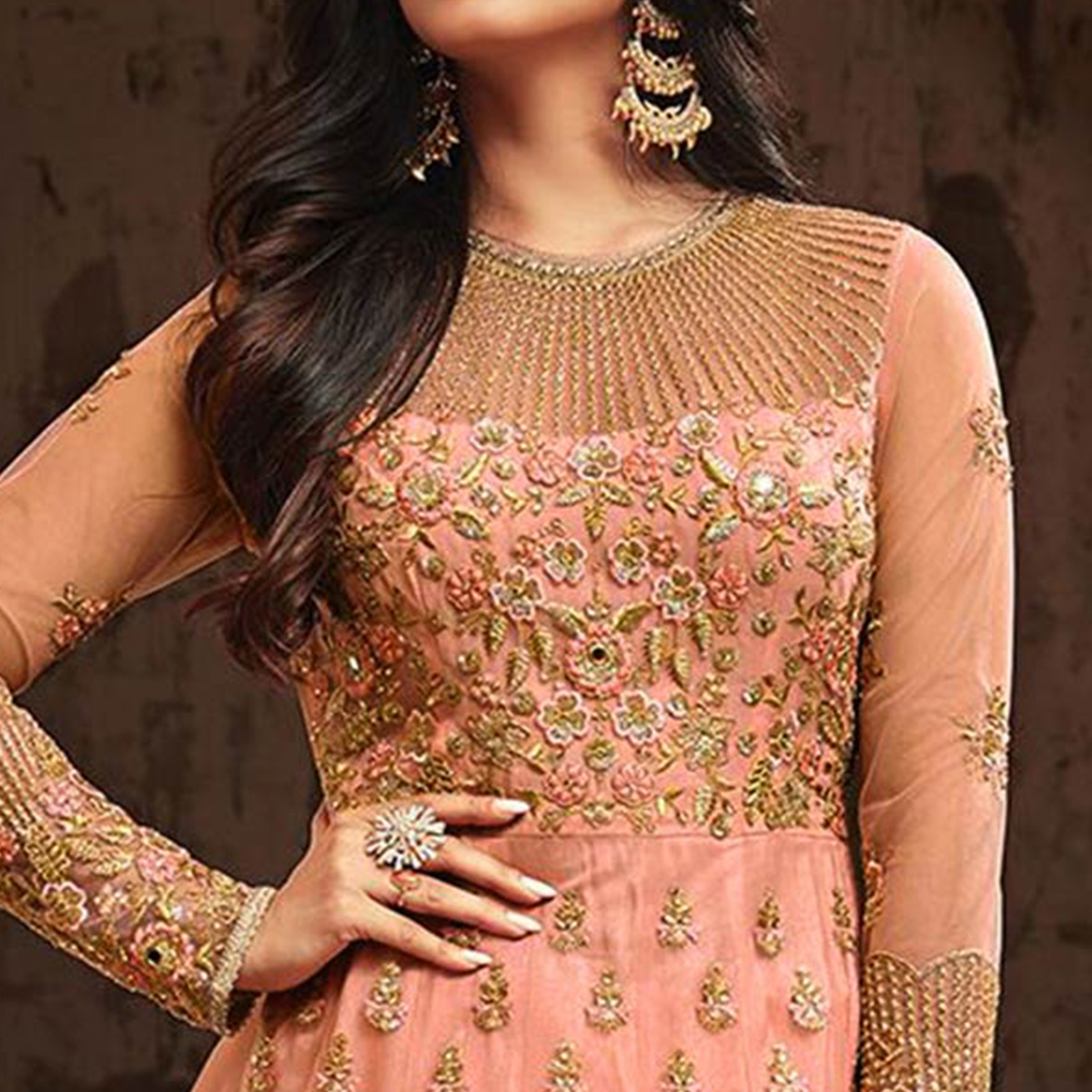 Blooming Orange Colored Partywear Embroidered Netted Anarkali Suit