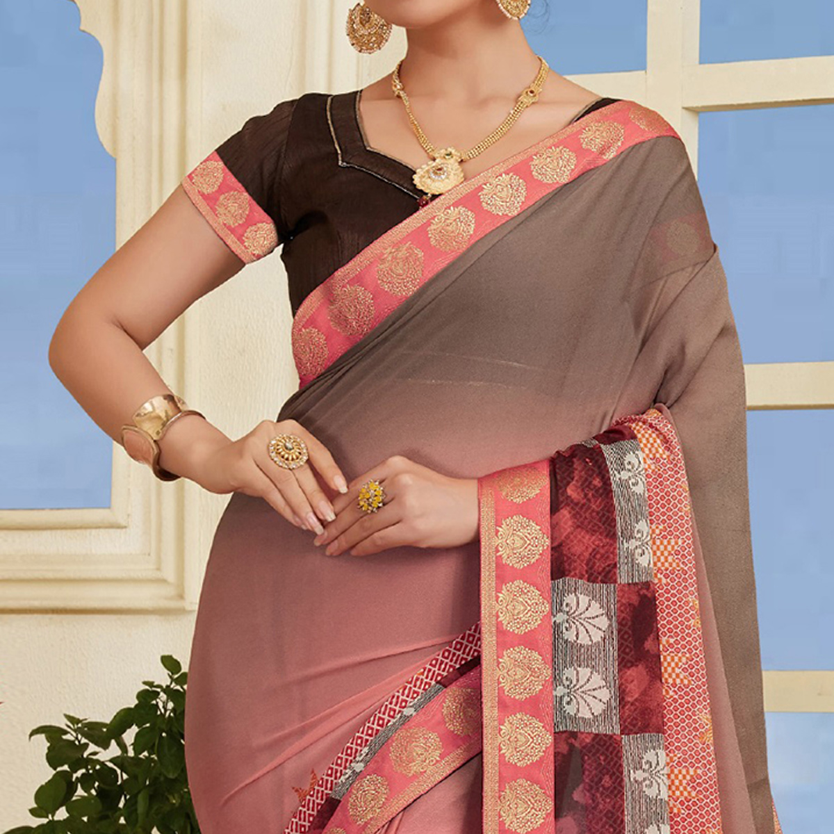Blissful Pink-Grey Colored Casual Printed Silk Saree