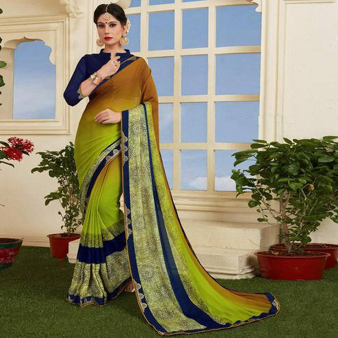 Innovative Light Green-Brown Colored Casual Printed Silk Saree