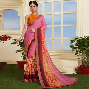 Precious Pink-Peach Colored Casual Printed Silk Saree