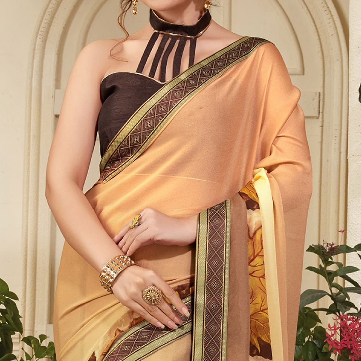 Lovely Peach-Cream Colored Casual Printed Silk Saree