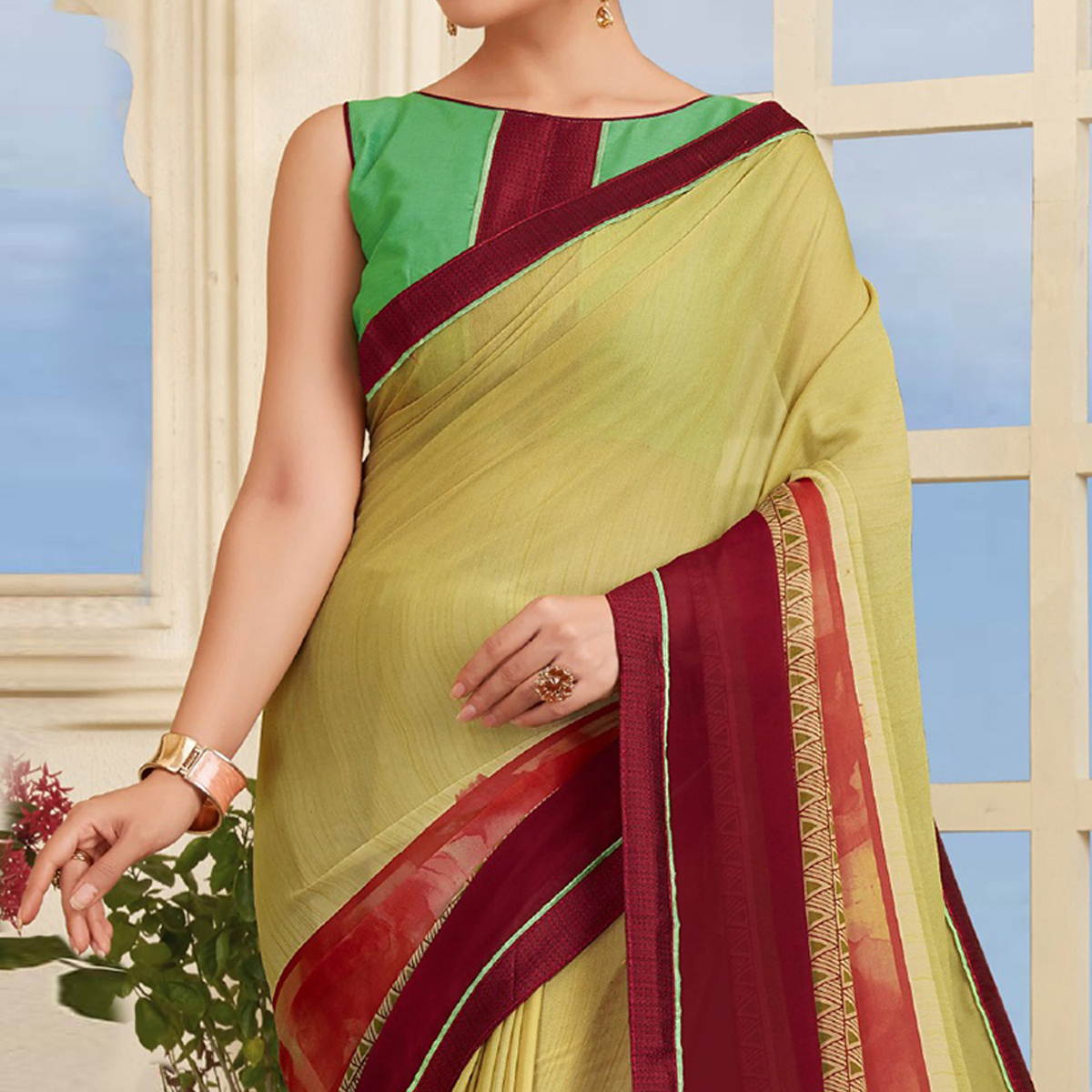 Classy Light Olive Green Colored Casual Printed Silk Saree