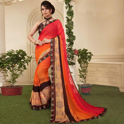 Glorious Red-Orange Colored Casual Printed Silk Saree