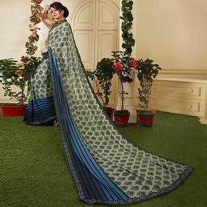 Gorgeous Light Olive green Colored Casual Printed Silk Saree