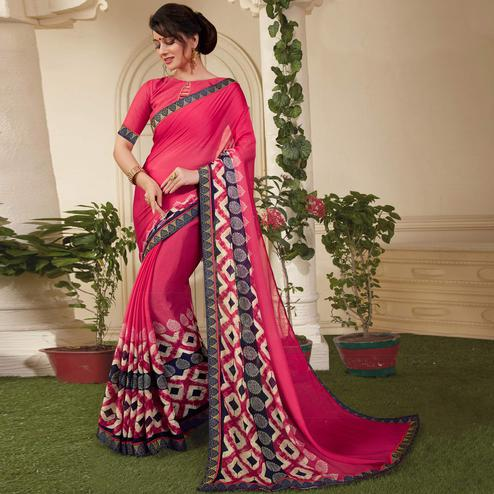 Dazzling Deep Pink Colored Casual Printed Silk Saree