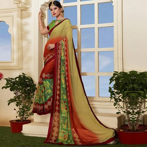 Ethnic Multicolored Casual Printed Silk Saree