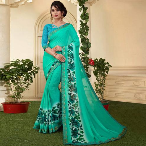 Graceful Turquoise Colored Casual Printed Silk Saree