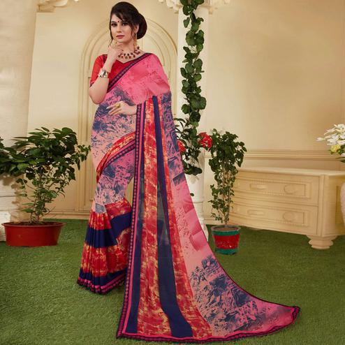 Intricate Pink-Red Colored Casual Printed Silk Saree