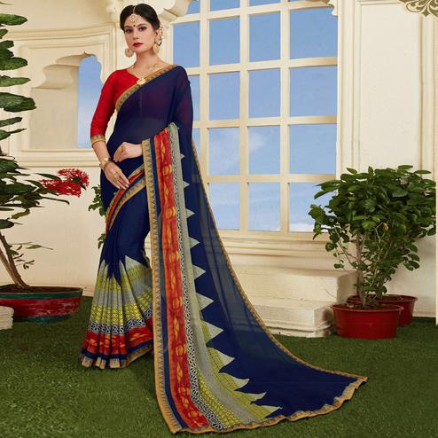 Groovy Blue Colored Casual Printed Silk Saree