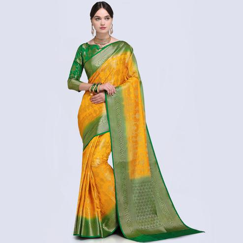 Unique Mustard Yellow Colored Festive Wear Woven Silk Saree