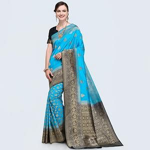 Pretty Bright Sky Blue Colored Festive Wear Woven Silk Saree