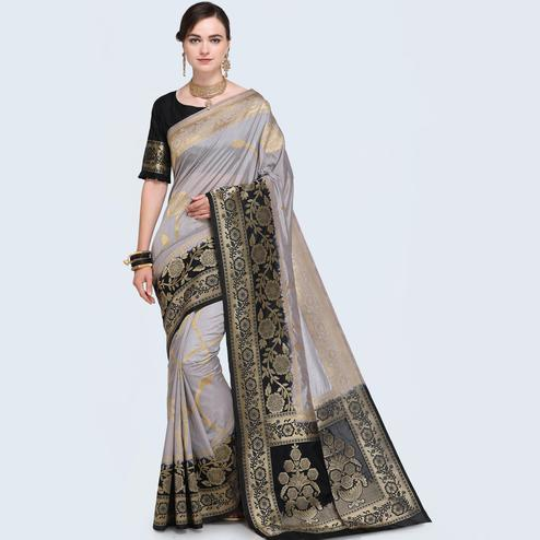 Gorgeous Lavender Blue Colored Festive Wear Woven Silk Saree