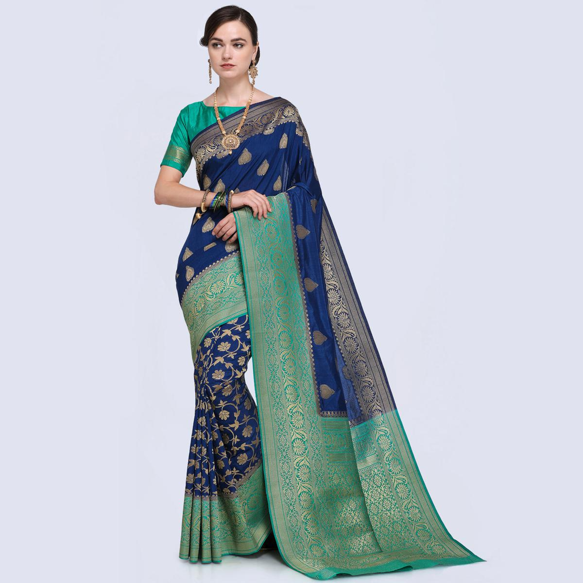 Refreshing Blue Colored Festive Wear Woven Silk Saree