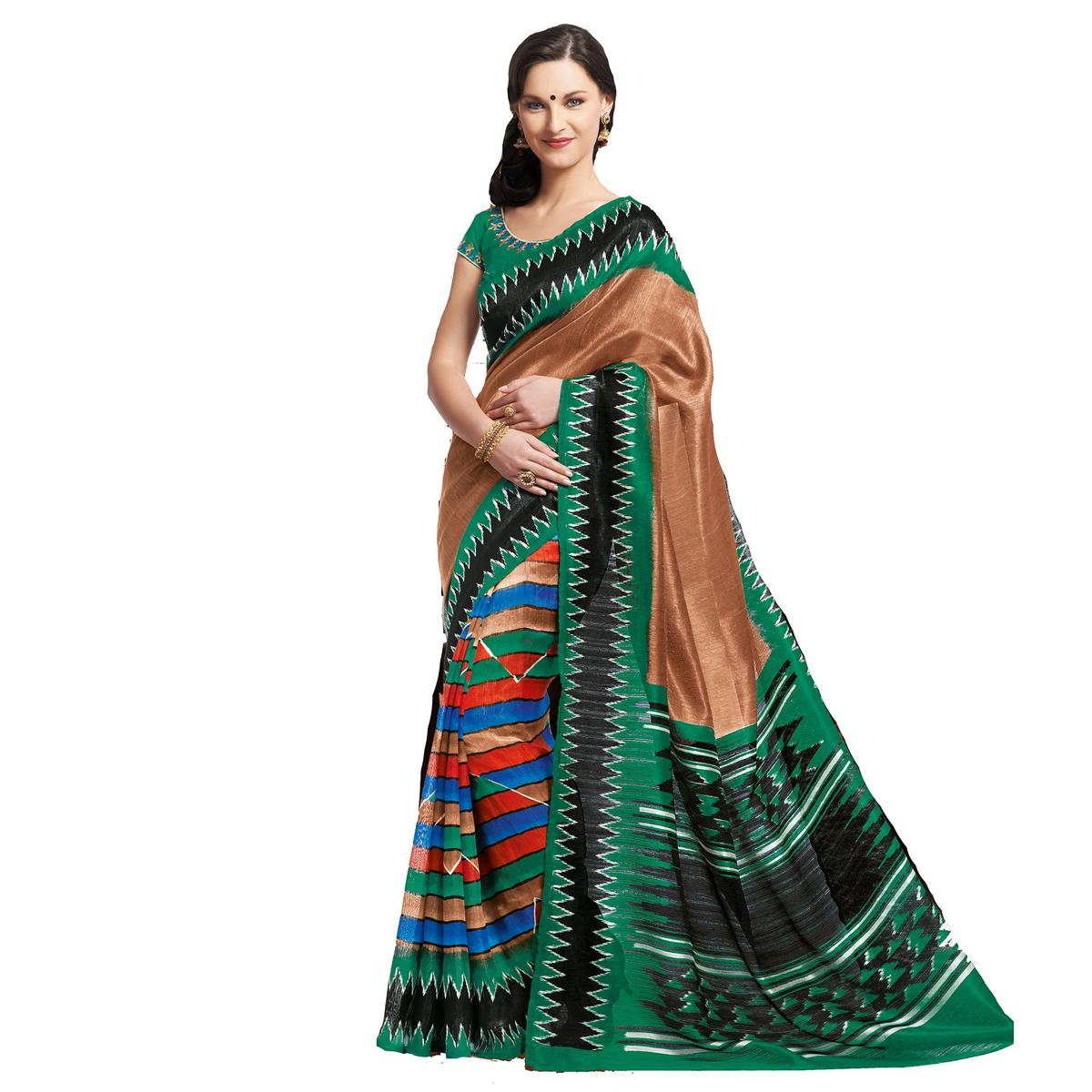Copper Brown - Green Katki Printed Saree