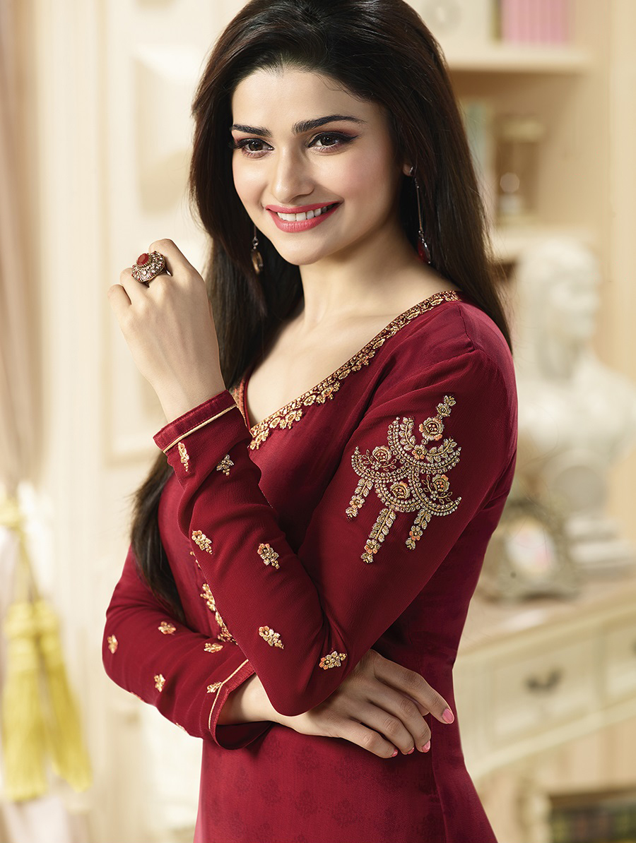 Sizzling Maroon Designer Embroidered Silk Salwar Suit