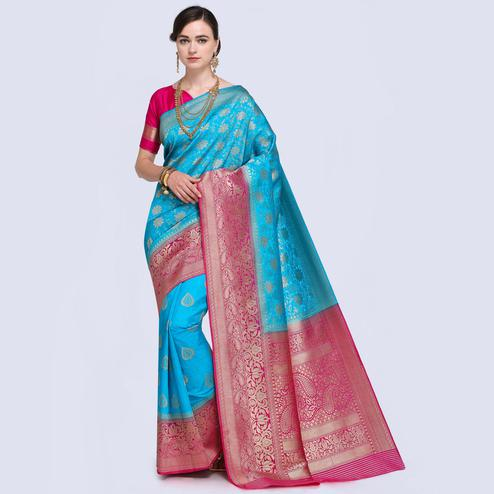 Excellent Bright Sky Blue Colored Festive Wear Woven Silk Saree
