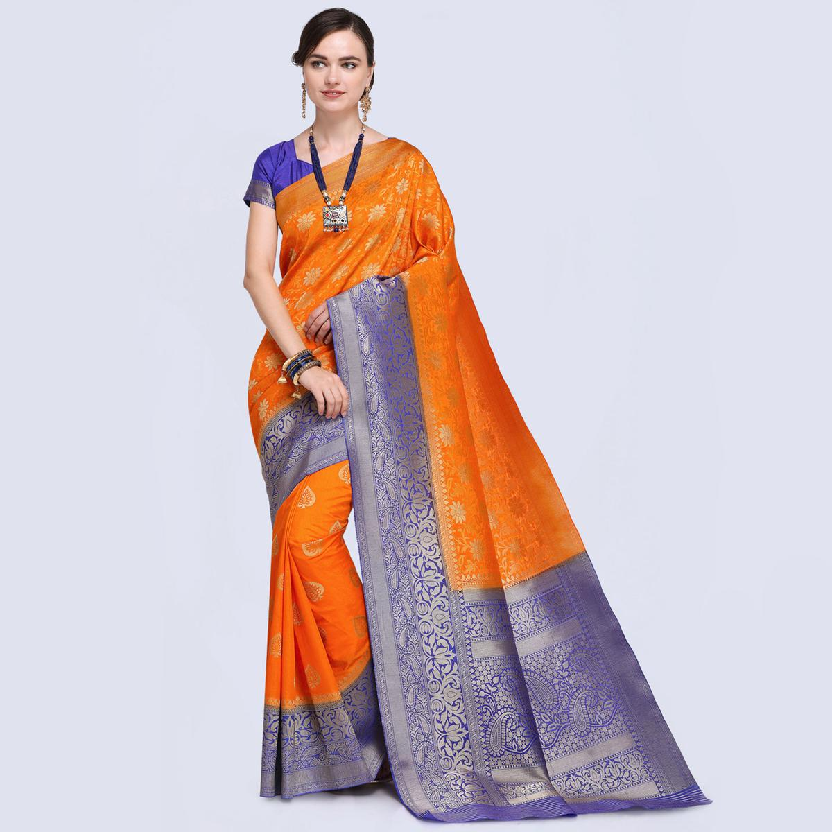 Eye-catching Orange Colored Festive Wear Woven Silk Saree