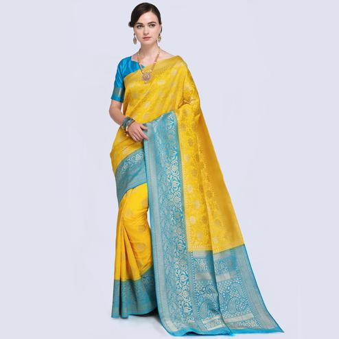 Innovative Yellow Colored Festive Wear Woven Silk Saree