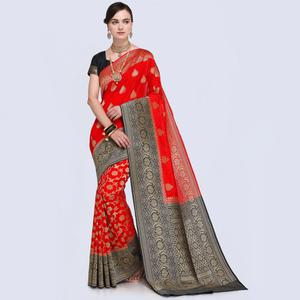 Exotic Red Colored Festive Wear Woven Silk Saree