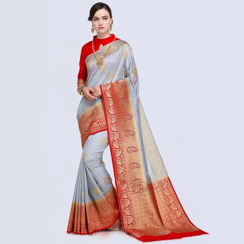 Glowing Lavender Blue Colored Festive Wear Woven Silk Saree