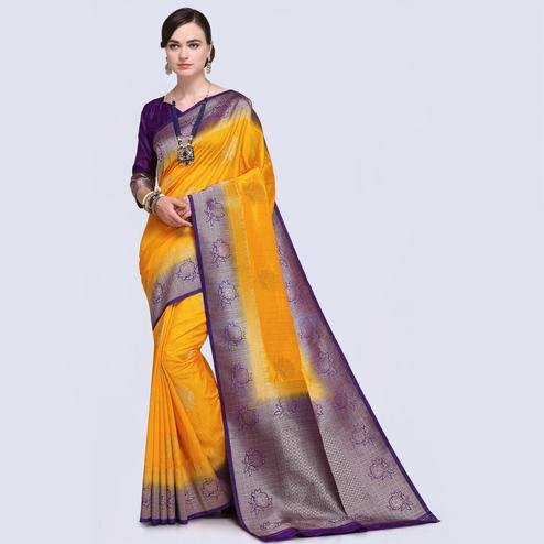 Adorning Mustard Yellow Colored Festive Wear Woven Silk Saree