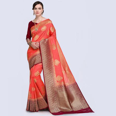 Precious Dark Peach Colored Festive Wear Woven Silk Saree