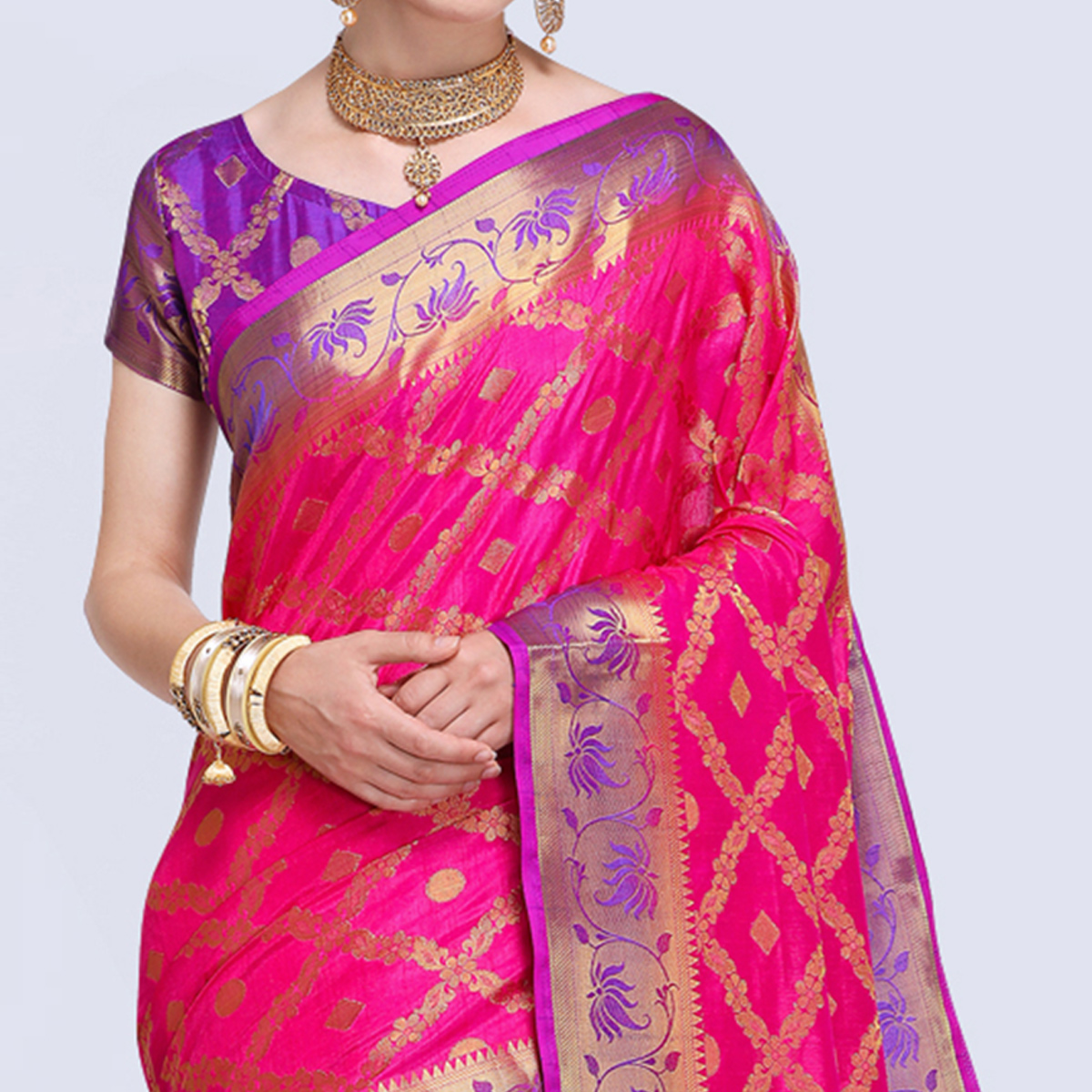 Pleasant Deep Pink Colored Festive Wear Silk Saree