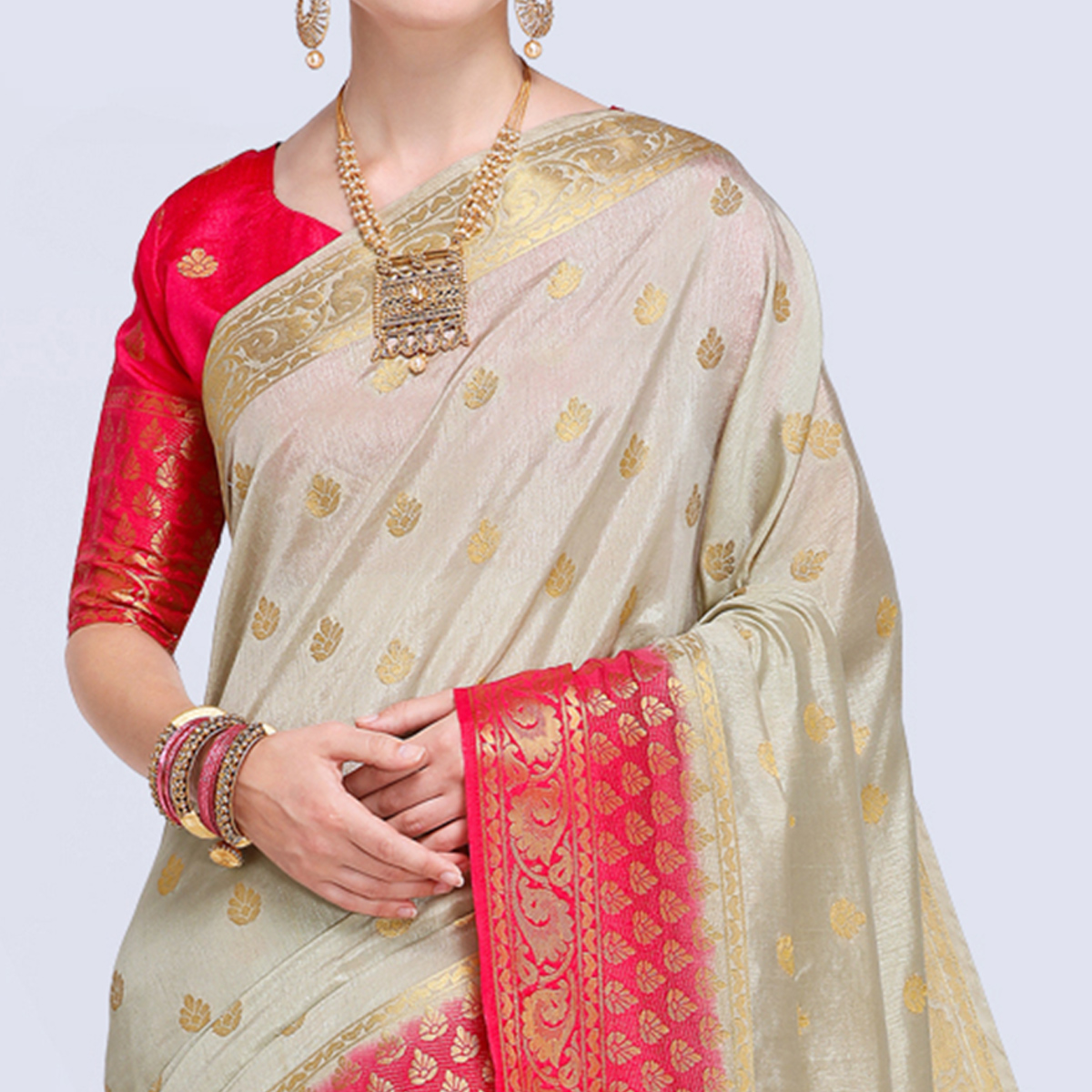 Unique Cream Colored Festive Wear Silk Saree