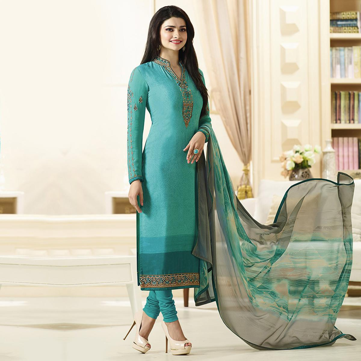 Graceful Firozi Designer Embroidered Silk Salwar Suit