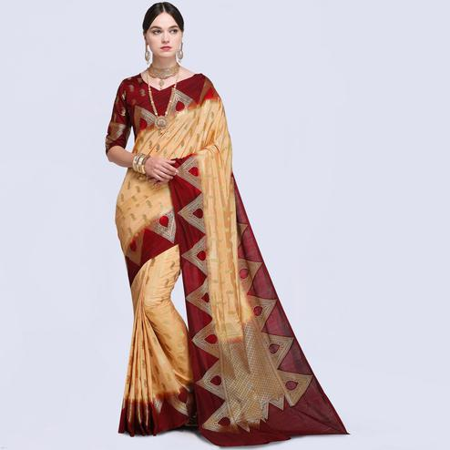Refreshing Peach Colored Festive Wear Silk Saree