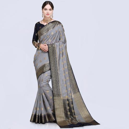 Alluring Grey Colored Festive Wear Silk Saree