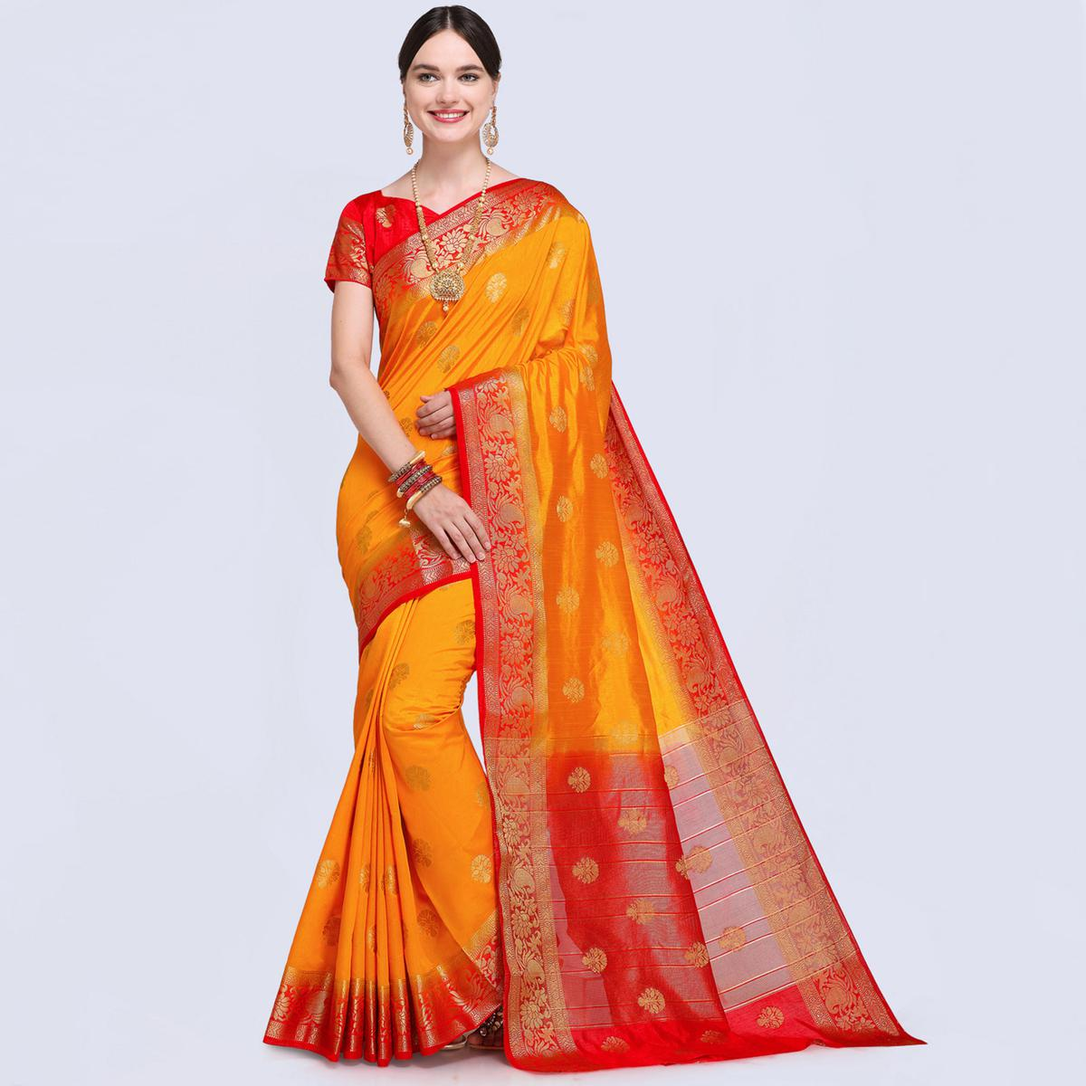 Radiant Mustard Yellow Colored Festive Wear Silk Saree