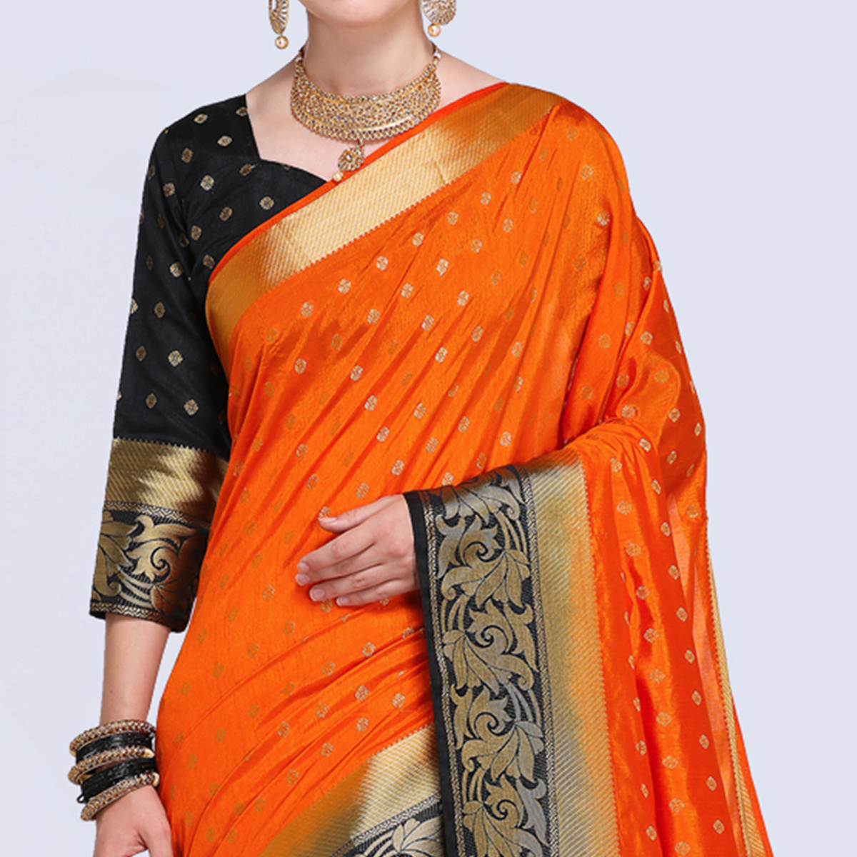 Sensational Orange Colored Festive Wear Silk Saree