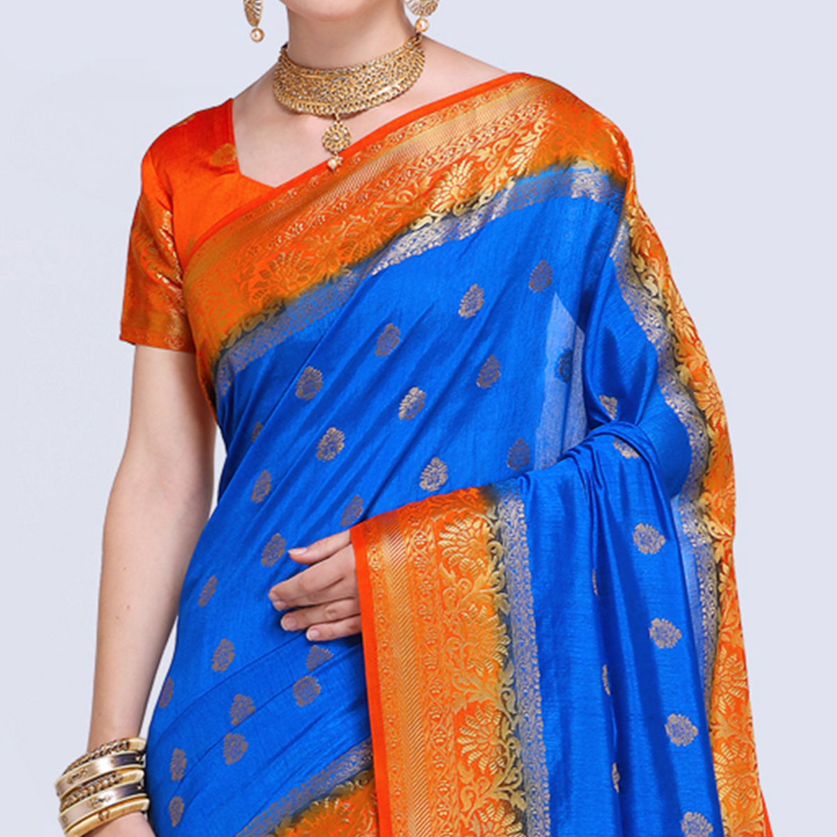 Opulent Blue Colored Festive Wear Silk Saree