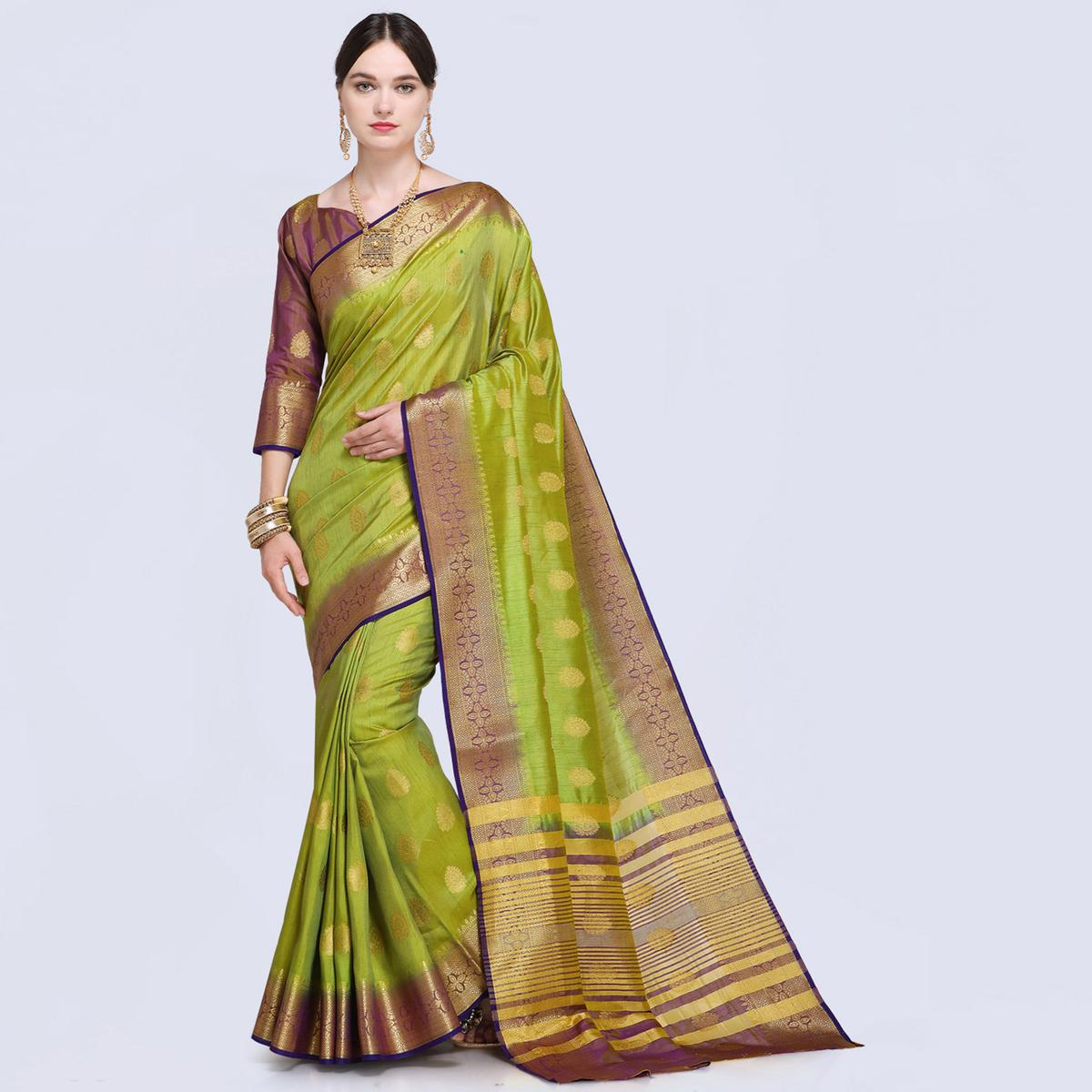 Dazzling Light Green Colored Festive Wear Silk Saree