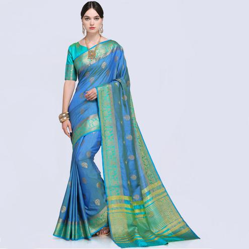 Flattering Sea Blue Colored Festive Wear Silk Saree