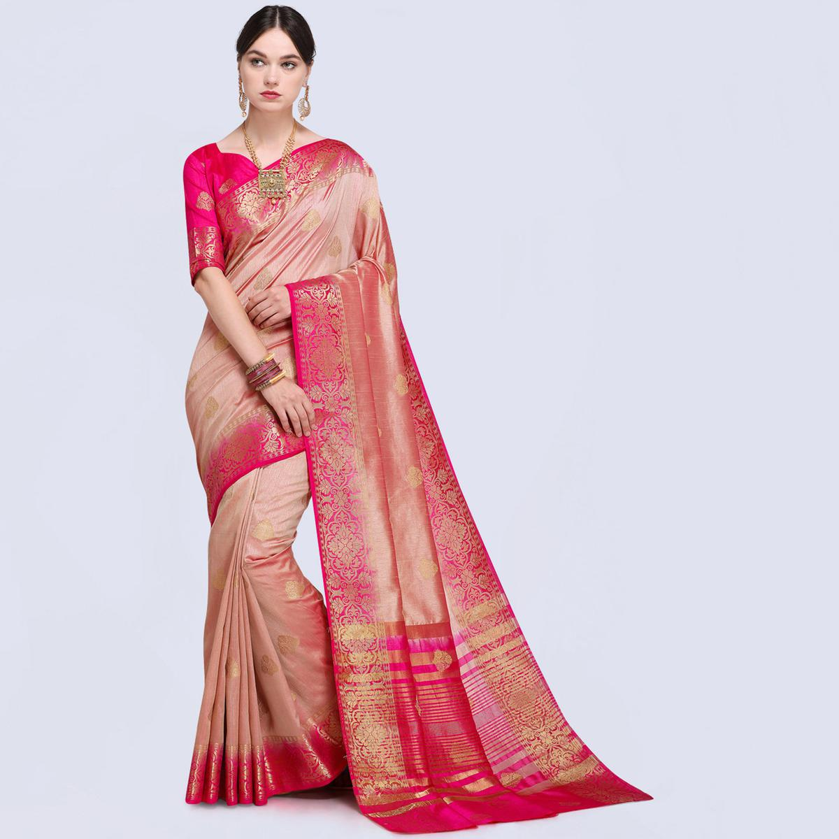 Breathtaking Shaded Pink Colored Festive Wear Silk Saree