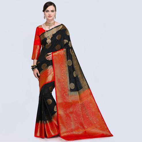 Impressive Black Colored Festive Wear Silk Saree