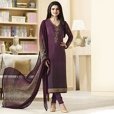 Stylish Purple Designer Embroidered Silk Salwar Suit