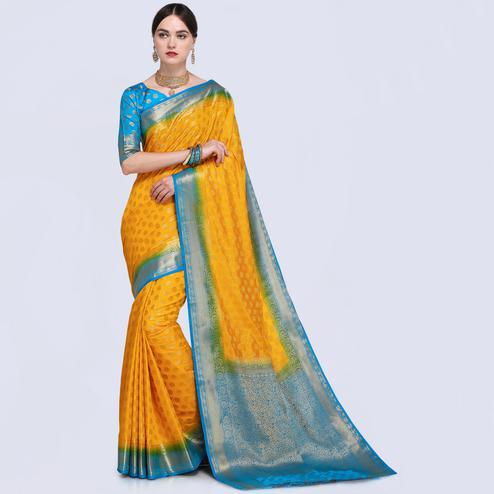 Innovative Yellow Colored Festive Wear Silk Saree
