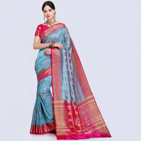 Arresting Blue Colored Festive Wear Silk Saree